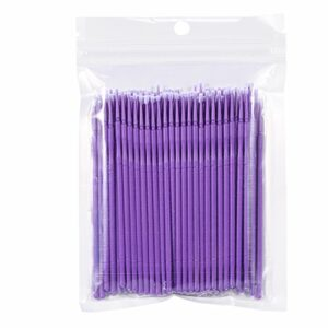 100pcs brosse à cils jetable 4 couleurs Micro pinceaux applicateurs de mascara pour le démaquillage(Violet)