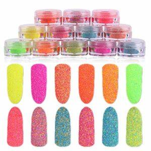 12 PCs assortiment couleur sucre poudre style coloré ongles poudres Rainbow manucure pigment poudre nail art fournitures
