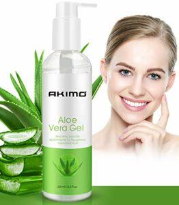 250 ML Gel d'Aloe Vera Bio avec Vitamine C – AKIMO Crème Hydratante Naturelle 100% pour Visage Mains Corps Cheveux Jambes Pieds, Réparer les Cicatrices, Apaisant et Anti-inflammatoire