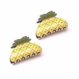 2pcs jaune ananas forme acrylique cheveux griffes détenteurs de queue de cheval frange pinces à cheveux clips crabes barrettes mignon-conception parent-enfant chapellerie pour la coiffure