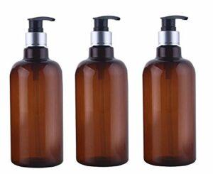 3pcs 500 ml brun vide bouteille en plastique rechargeable bouteilles pots avec pompe haut pour le maquillage cosmétique bain douche articles de toilette conteneurs liquides fuite fuite (noir)