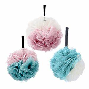 3pcs Bain Douche Éponge éponges de bain exfoliantes,Fleurs de Bain Éponge de Douche aux hommes et aux femmes pour exfolier…