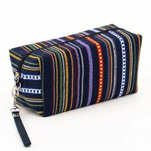 4 couleurs femmes cosmétiques sac coton rétro maquillage sac de beauté organisateur voyages pochette de toilette sac de lavage 18x10x8cm CHAOCHAO (Couleur : Sapphire)