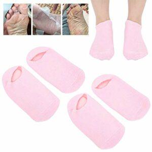 4 pièces chaussettes en gel, chaussettes en gel hydratantes, chaussettes en gel aux huiles essentielles Salon de beauté chaussettes hydratantes anti-fissures pour les pieds secs
