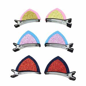 6 paires de couleurs au hasard chat mignon forme d'oreille paillettes pinces à cheveux pinces à cheveux brillants pinces à crabes pinces à cheveux barrettes bambin coiffe clips pour bébés filles