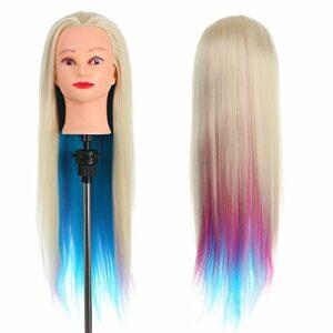 70cm Tête À Coiffer, Anself Tête de coiffure 100% de Cheveux Synthétiques Têtes d'exercice pour le Salon Coiffeur Poupée, pour Couper la Pratique du Tressage (Sans Support )