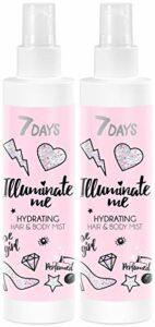 7DAYS Illuminate Me Rose Girl Brume Cheveux et Corps 2 pièces Hydratante Mist Pour Tous Types de Peaux Parfumée Spritz Rose
