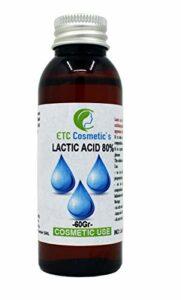 ACIDE LACTIQUE 80% – 60/120 GR ( LACTIC ACID 80% ) – Contrôle du pH, soins de la peau, du corps et des cheveux, peeling, rajeunissement et éclaircissements, kératolytique, exfolie la peau (60 Gr)