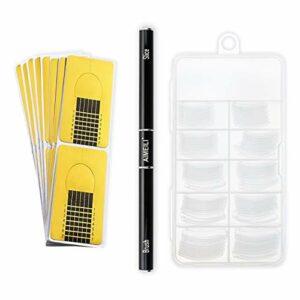 AIMEILI Nail Extension Gel Kit Tool, Builder Gel Double Extrémité Pinceau et Tranche, 100 pcs Modèle Tips Faux Ongle, 10 pcs Ongles Forme Extension Stickers