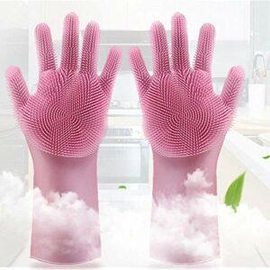 Alxcio Gants de Nettoyage,Silicone Brosse De Nettoyage Brosse Résistant À La Chaleur Gants pour Lave-Vaisselle, Cuisine, Soins des Cheveux pour Animaux De Compagnie (Rose)