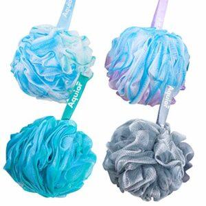 Aquior Balle de bain éponge de douche en maille pour exfolier, nettoyer complètement la mousse, apaiser la peau