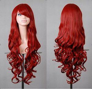 Beauté Cheveux lisses 80cm Charmant sexy longue ondulée avec frange Rouge Cheveux synthétiques Cosplay Perruques Cosl1002