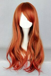 Beauté Cheveux lisses Femme Long Vin Rouge Perruque de cheveux avec une Frange Cosplay Nw17