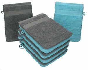 Betz Lot de 10 Gants de Toilette Taille 16×21 cm 100% Coton Premium Couleur Turquoise, Gris Anthracite