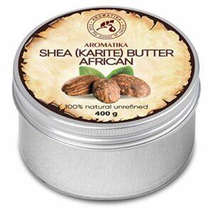 Beurre de Karité 400g – Non raffiné – 100% Pur et Naturel – Pressé à Froid – Africain – Ghana- Idéal pour les cheveux – Peau – Lip – Visage – Soin du corps – Beurre de Karite – Bocal en Aluminium
