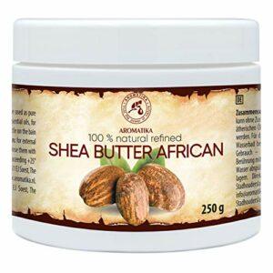 Beurre de Karité Africain 250g – Ghana – Raffiné – 100% Pur et Naturel – Beurre de Karité – Idéal pour Cheveux – Peau – Lèvres – Visage – Soin du Corps -Beurre de Karité