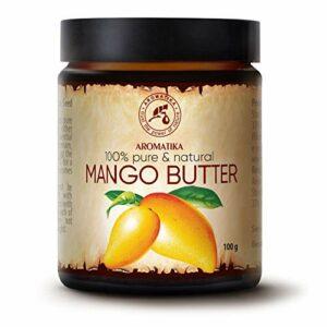 Beurre de Mangue 100g – Mangifera Indica – Indonésie – 100% Pur et Naturel – Huile Raffiné – Soin du Visage Intensif – Corps – Cheveux – Peau – pour la Massage – Soin du Corps – Bouteille en Verre