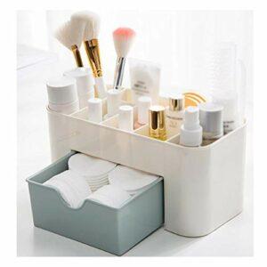 Boîte cosmétique / boîte de rangement de maquillage, pinceau de maquillage, rouge à lèvres bleu