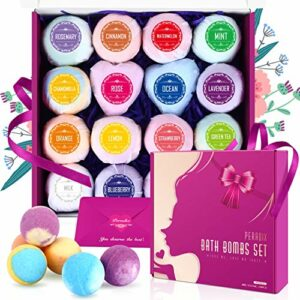 Bombes de Bain de 16 PCS-Peradix Cadeau Boule de Bain Bio Enfant et Femme aux Huiles Essentielles et Ptillantes poudre de perle pour Le Effervescent Bain, Comme Spa Luxueux pour Bain