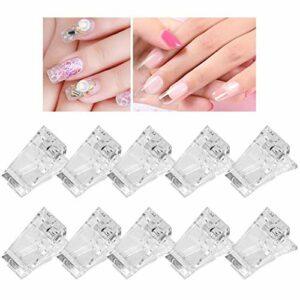 Bouts d'ongle transparents Clip, 10pcs / Set Bouts d'ongles transparents Clips Poly Gel Construction Rapide Clips de Nail Gel Accessoires