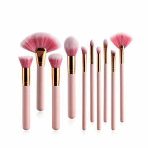 BTYAY Pinceaux de maquillage 10 / 4PCs Définir la fondation de poignée en bois rose Maquillage professionnel Maquillage Maquillage Brosse Outils de beauté Kit (Color : B)