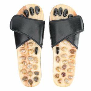 BYARSS Massage des pieds Chaussons Pieds Acupuncture Pebble Sandal Chaussures Pierre Relaxez des soins de santé (Noir 43-44)