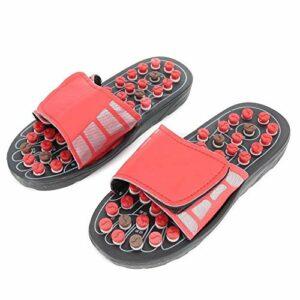BYARSS Unisexe réglable de massage des pieds Slipper pied Acupoint Stimulez chaussons for les soins de santé (Rouge) (40-41)