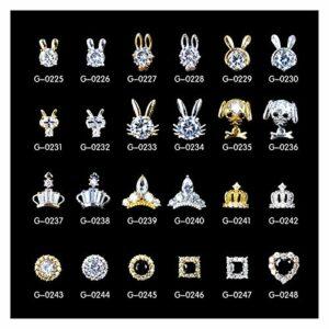 Caigaodz Diamant de décoration d'ongle 10pcs Zircon Pierres précieuses Clous en Alliage Bijoux Nail Art décoration Lapin Couronne Ovale Ongles Diamant Zircon manucure Strass Charms (Color : GS0229)