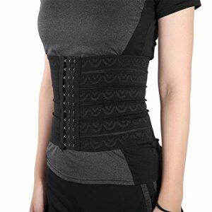 Ceinture post-partum amincissant la ceinture pour les femmes taille latex formateur corset corps shaper contrôle du ventre en acier désossé trimmer pour la perte de poids(L-Noir)