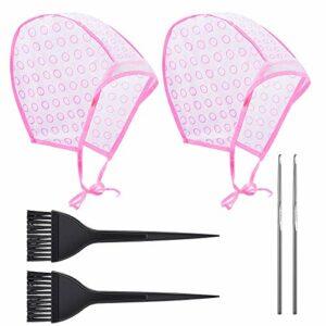 Chapeau de Coloration Jetable Chapeau de Coloration de Cheveux Soulignant avec Brosse et Crochets