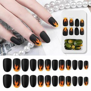 Corwar 24PCS faux ongles gelée gelée autocollant ongles gommage ongles flamme everywhere gaudily ordinary
