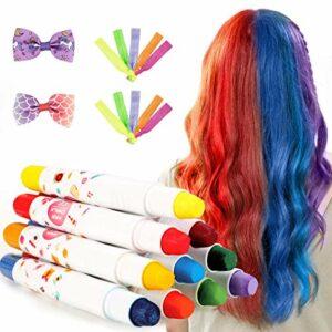 Craie de Cheveux,10 Stylos Non-Toxique Temporaire Lavable de Craie de Coloration de Cheveux Réglés,Cadeaux D'anniversaire Idéaux pour Filles âgées de 4-11 ans