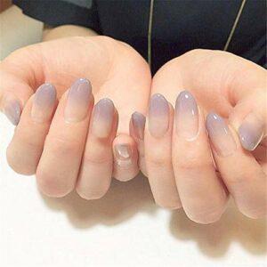 CSCH Faux ongles»24 pièces/ensemble de faux ongles ovales violets, faux ongles transparents courts ronds, ongles dégradés. Conseils pour prendre soin des ongles en acrylique»