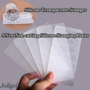 Date de timbres de silicone, Stamper + grattoir + 5 plaques d'estampage de silicone Rectangle, Nail Art Stamping Set pour ongles bricolage manucure décoration, conception de dentelle