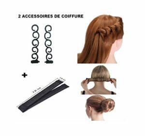 D&C COSMETICS Chignon Magique, Lot De 2 Outils de Coiffure Bande de Chignon Bun Maker Set Accessoire de Cheveux Tresse Braided pour Filles Femmes (2 pieces)