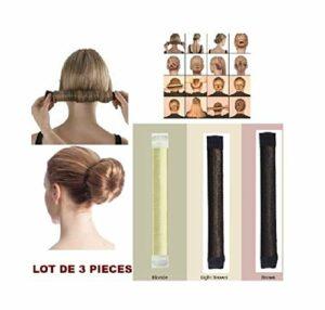 D&C COSMETICS Chignon Magique, Lot De 3 Outils de Coiffure Bande de Chignon Bun Maker Set Accessoire de Cheveux pour Filles Femmes (Blond, Marron Clair, Marron) (3 pieces)