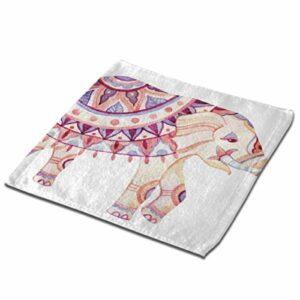 Débarbouillettes minces d'éléphant de tatouage ethnique africain 13×13 pouces Gant de toilette en fibre superfine pour salle de bain Serviette de bain super douce et absorbante parfaite pour un usage