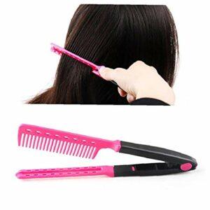 Défrisage Outil portable en forme de V Peigne plat en plastique coiffure Styling peigne outil (rose) fournitures ongles