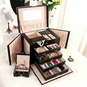 DRFFF Boîte de Rangement pour Maquillage Boîte à Bijoux de Grande capacité Boîte de Rangement de Bijoux Multicouches en Cuir à Cinq Couches de Cuir (pour Femmes),Black