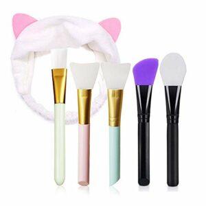 Ealicere 4 Pièces Pinceaux Masque Visage en silicone, 1 Pcs Pinceaux de Maquillage Soupleet 1 Pièces Maquillage Oreilles Chat Bandeau Cheveux,pour Masque Visage Crème ou DIY