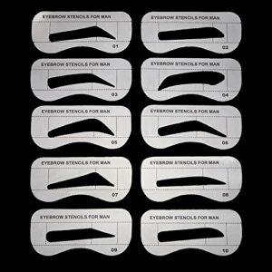 EgBert 10Pcs Hommes Sourcils Carte Dessin Guide Carte Modèle De Sourcils Yeux Maquillage Façonner Conception Sourcils Pochoirs