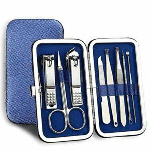 Ensemble 8en 1en acier inoxydable avec coupe-ongles, ciseaux, etc. pour soin des ongles E