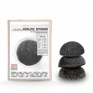 Eponge konjac 100% naturelle au charbon actif et Biodégradable – Éponge konjac nettoyant visage pour un soin visage femme ou soin visage homme – Une eponge maquillage et visage anti point noir (x3)
