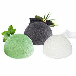 Éponge konjac visage, 100% naturelle (Lot de 3) pour l'exfoliation naturelle et le nettoyage profond des pores – Charbon de bambou/Thé vert/Blanc pur Forme hémisphère pour tous les types de peau