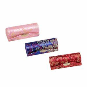EXCEART 3Pcs Boîte de Rouge à Lèvres de Style Chinois Porte-Rouge à Lèvres Fleur Design Maquillage Porte-Bijoux Boîte Brillant à Lèvres Baume à Lèvres Boîte de Rangement pour Les Femmes