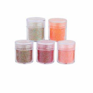 EXCEART 5 Pcs Fine Glitter Nail Glitter Nail Art Poudre Paillettes Gradient Trempage Brillant Effet Gommage Ongles Manucure Glitter Pour Slime Mixte 1Mm / 2Mm / 3Mm (Rouge)