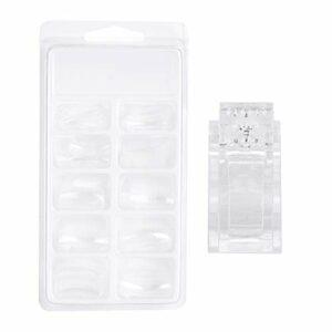 Faux ongle transparent, pince à ongles Chacerls 100 pièces taille différente construction rapide faux ongles conseils + clou fixe Clip Nail Art Kit ensemble