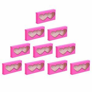 FRCOLOR 10 Pcs Vide Cils Boîte D'emballage Papier Cils Cas Amour Coeur Fenêtre Conception Cils Conteneur Pour Faux Cils Soins Cosmétiques Outils Rose