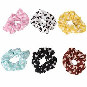 FRCOLOR 6Pcs Cheveux Chouchous Dot Cheveux Élastiques Bobbles Chouchous Cravates Accessoires pour Cheveux Cadeaux pour Femmes Enfants Été Salle de Bain Spa Sport
