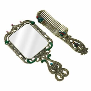 FRCOLOR Vintage Miroir Et Peigne Ensemble Princesse Vanité Miroir Vintage Miroir Cosmétique de Poche Antique Peigne à Cheveux pour Voyage Coiffeuse Bronze